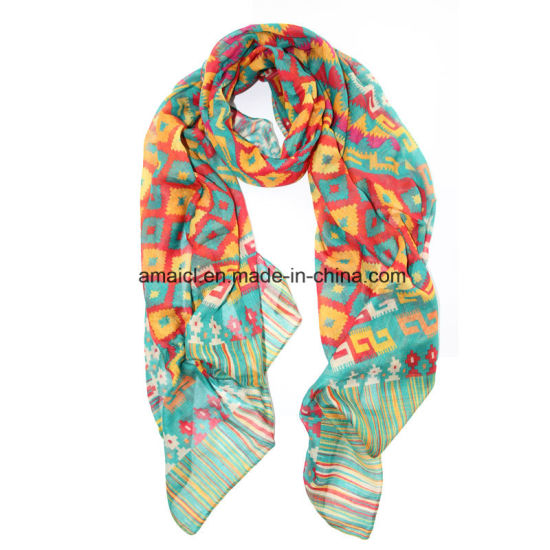 Polyester Printed Dyed Scarve (AJM60001232) pictures & photos