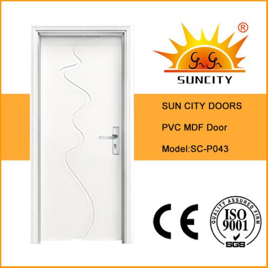 Modern Flush Single PVC Bathroom Doors Design (SC-P043)