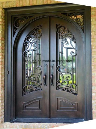 China Luxury Elegant Wrought Iron Entry Door For Luxury Homes