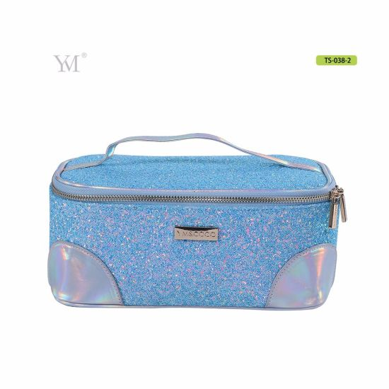 New Fashion Portable Handle Bling Sequin Makeup Pouch Bag For Travel