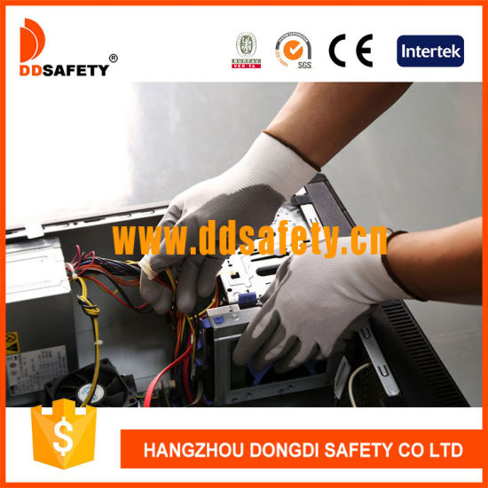 China Grey Industrial Mechanic ESD Work Nylon Nitrile Palm Smooth Coated Gloves Ce 3121X Manufacturers