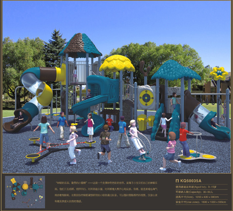Kaiqi Forest Series Children's Plastic Playground Set for Amusement Parks Games (KQ50035A)