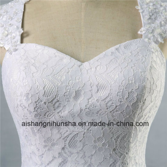 Wedding Dress in Lace Cap Sleeve Beaded A-Line Wedding Gown pictures & photos