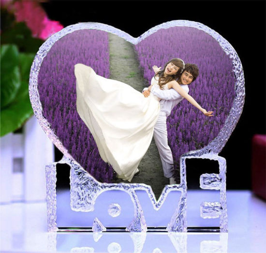China Cheap Crystal Heart Photo Frames For Birthday Wedding Favor