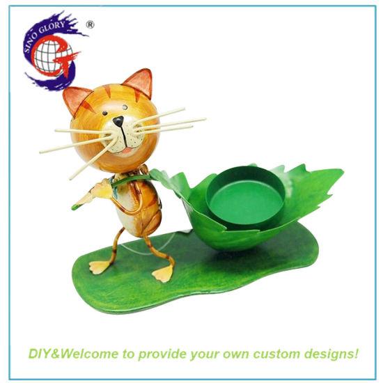 Handmade Cute Metal Cat Candle Holder Decoration