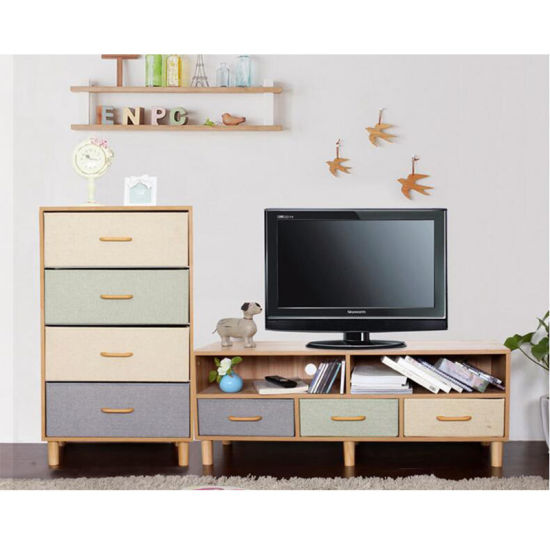 TV Stand Wall Unit Designs Plywood Materials LED TV Stand Furniture with Showcase