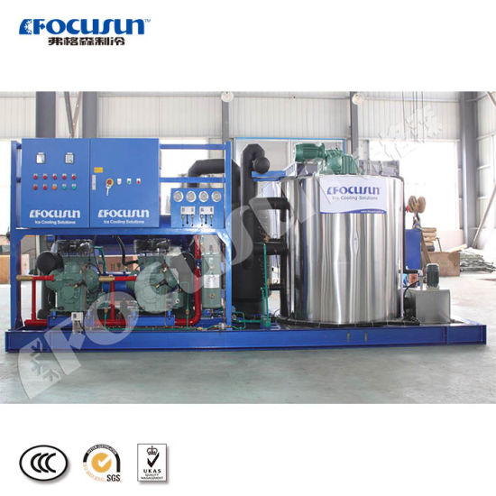 10 Ton Fresh Water Flake Ice Machine Be Directly Used for Stirring and Mixing Refrigerated Materials
