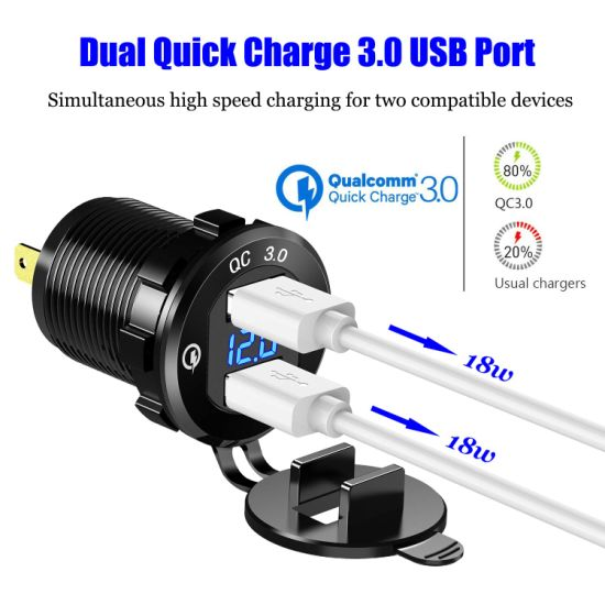 Quick Charge 3.0 USB Car Charger Socket Digital Display Voltmeter USB Charger Socket with ON-Off Switch for Car Marine ATV Motorcycle Color : Blue
