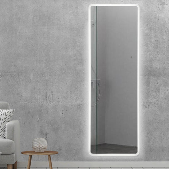 Backlit LED Illuminated Silver Floor Full Length Wall Decor Mirror for Dressing Room