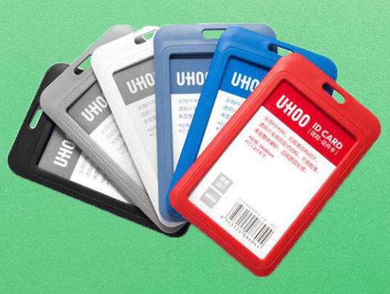 Horizontal PP ID Badge Holder Flip Cover Name Card Business RFID Blocking Card Holder for School, Office, Events