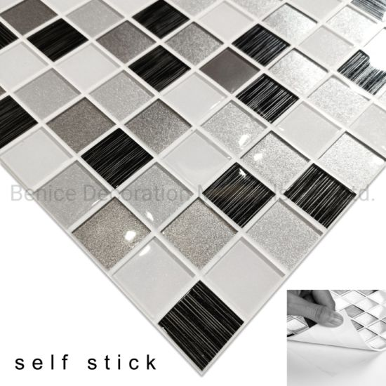 Vinyl Wallpaper Self Adhesive Wall Tiles In Black Interior Decoration
