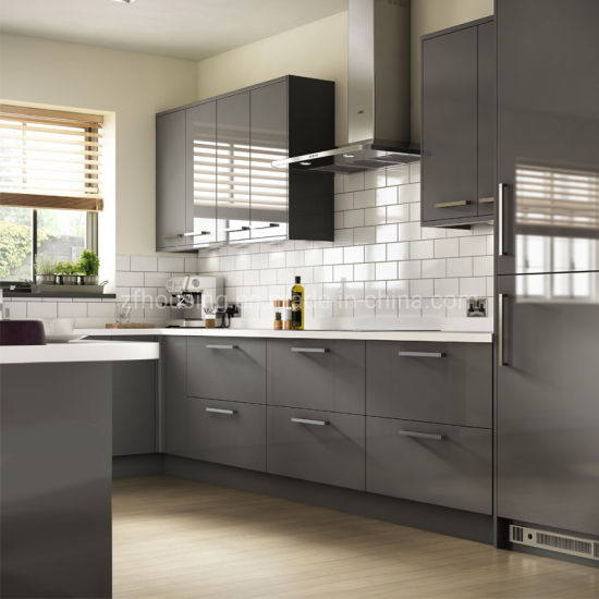 Modern Design Gray Lacquer Kitchen Cabinets Zf-Kc-002