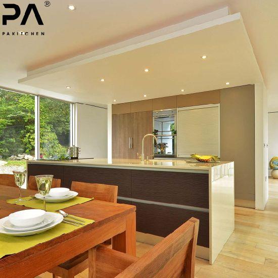 PA Kitchen Prefab Contemporary Popular Design Customized Melamine Kitchen Furniture with Standard Cabinet Kitchen Island