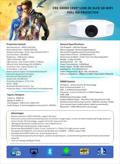 3300lumens Android WiFi Full HD 3D LED Projector pictures & photos