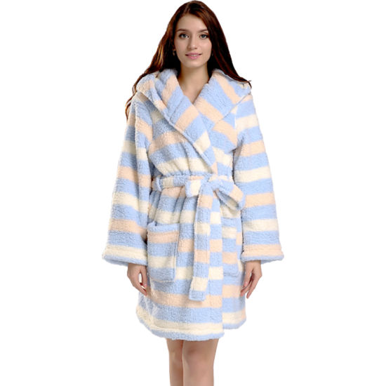 Fashion Plus Size Stripe Printing Snuggle Fleecesweater Winter Warm Long Blouse Sleepwear Jacket Coat Robe for Women Girls pictures & photos