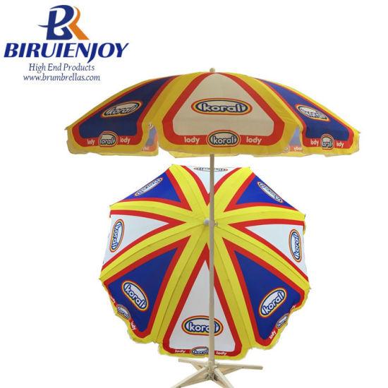 Custom Printing Polyester Promotional Advertising Outdoor Sun Parasol Beach Umbrella