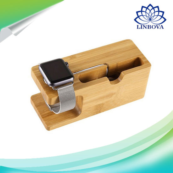 Watch Stand, Bamboo Wood Charging Dock Charge Station Socket Stock Cradle Phone Holder for Iwatch iPhone pictures & photos