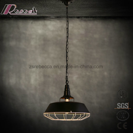 Modern Iron Pot Cover Chain Cage Pendant Light for Bar