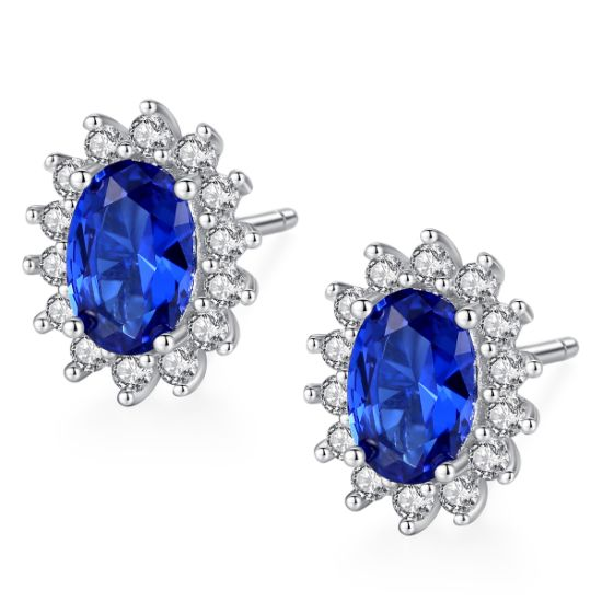 Blue Flower Shape Plated 925 Sterling Silver Stud Earring Jewelry pictures & photos