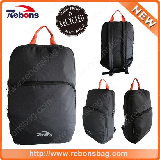 Black Portable Waterproof RPET Everyday Bag Laptop Backpacks Made From Recycled Pet Bottles