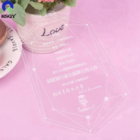 Manufacture Acrylic Wedding Invitation Card Business