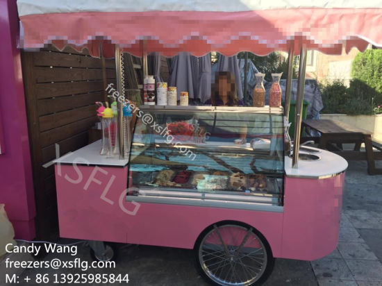 Italian Gelato Carts / Ice Cream Trolley Showcase/ Gelatin display Freezers ( pictures & photos