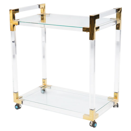 Acrylic Stainless Steel in Gold W/Glass Service Cart