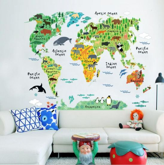 [Hot Item] Home Decor World Map Wall Sticker Removable for Kids Bedroom  Wall Stickers
