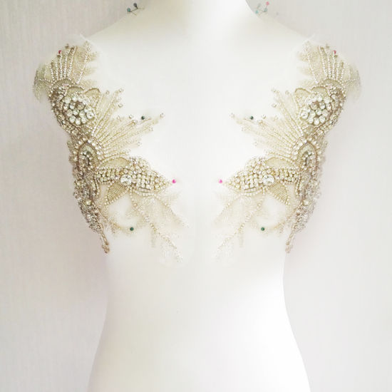 Fashion Wedding Beaded Rhinestone Bodice Dress Patch Accessories
