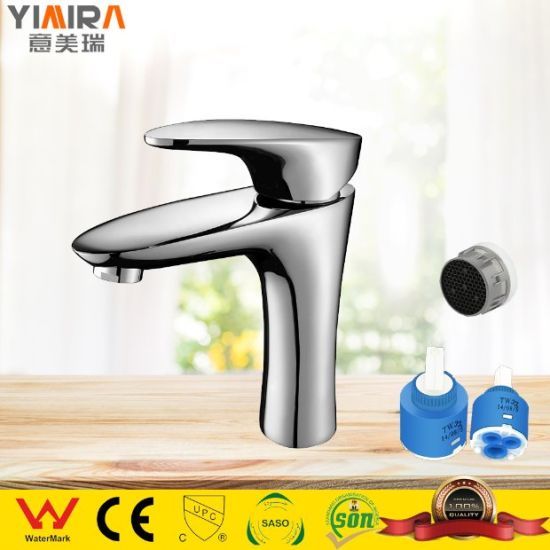 Single Handle Brass Water Tap Bathroom Chrome Wash Basin Faucet