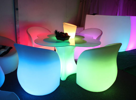 Modern Furniture Unique Design Flower Shaped Colorful LED Chair