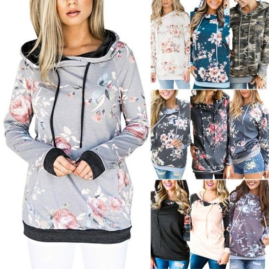 New Fashion Printed Big Flower Grey Fleece Kangaroo Pocket Sweatshirt Women Long Sleeve Casual Pull Over Slim Fit Hoodies