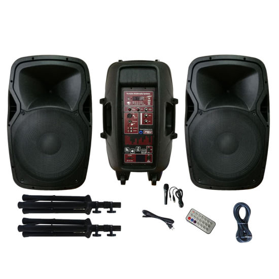 Audio Combo System Powered DJ Speakers Pair with Sound Mixer