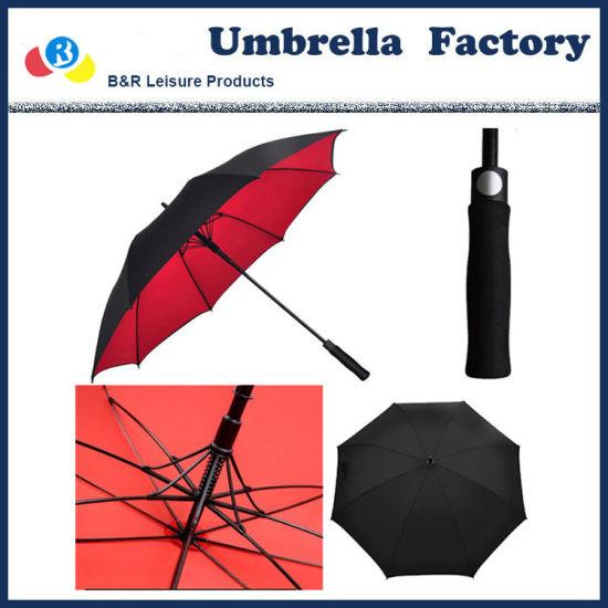 Diameter 130 Cm Vented Golf Umbrella Black Red