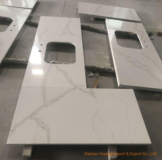 Building Material Prefab Calacatta White Quartz Countertops for Kitchen/Bathroom/Projects/Hotel