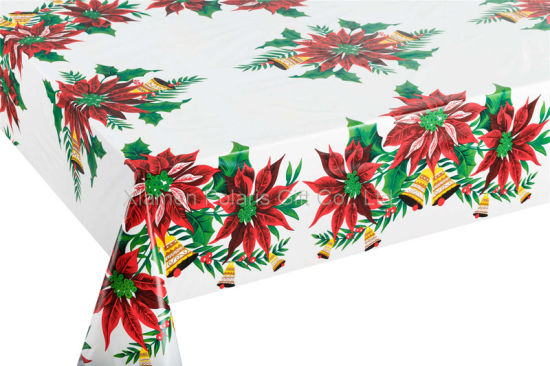Vinyl Christmas Tablecloth Flannel Backed
