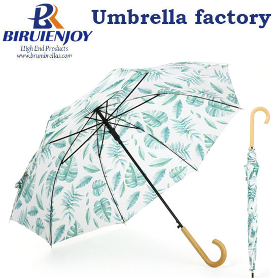 Custom Printing Auto Open 24inch Sun Straight Umbrella Wooden Handle for Lady