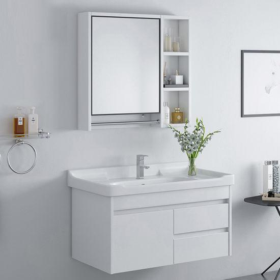 German Style Foshan Basin Solid Wood, White Bathroom Cabinets