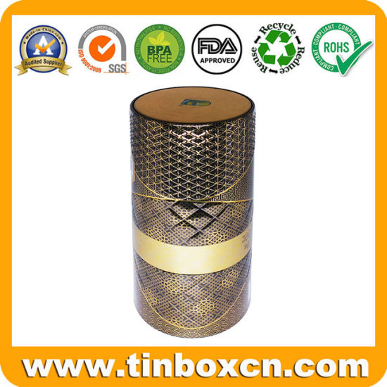 Luxury 3D Embossed Tall Round Metal Can Wine Tin Box with Bayonet Closure and Insert for Whisky Vodka Storage Container