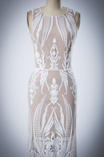 White Beading Sequins Swing Chiffon Evening Dress