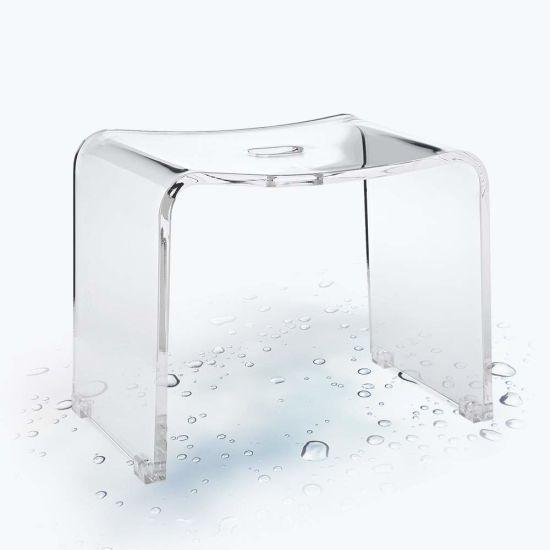 China Custom Clear Acrylic Lucite Bathroom Stool Chair