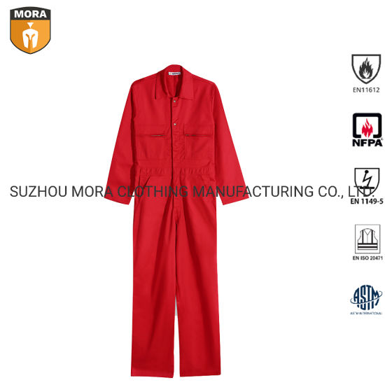 Nfpa 2112 Fr Clothing 100% Fr Cotton Fire Retardant Coveralls Safety Work Clothes Outdoor Comfortable Work Suit Wholesale