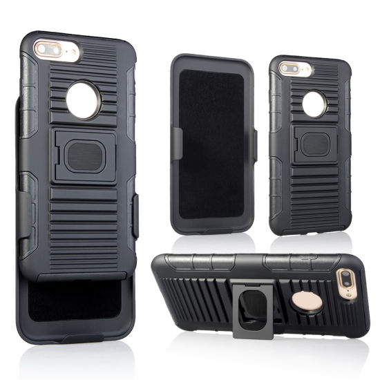 Free Sample Hybrid Heavy Duty 3 in 1 Rugged Armor Cover Holster Case for iPhone 7plus
