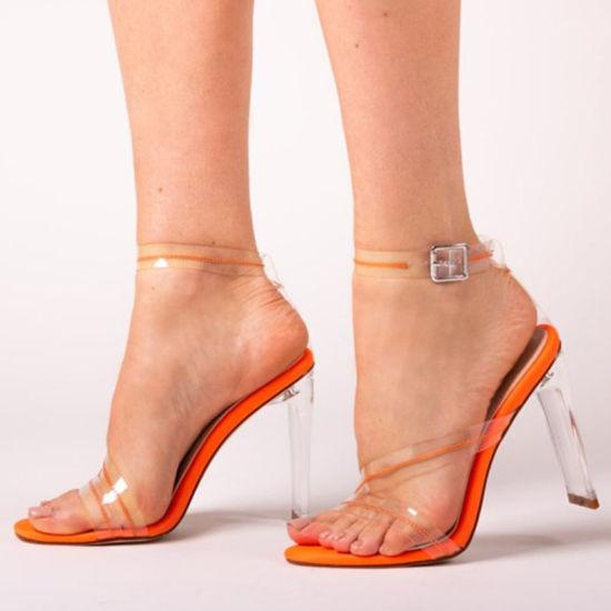 Ladies Summer Crystal Clear Heel Women Ladies Girls Heel Sandals Orange Patent
