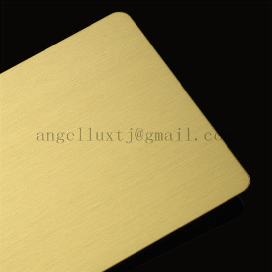 201 304 316 Titanium Golden Hairline Finish Stainless Steel Sheet pictures & photos