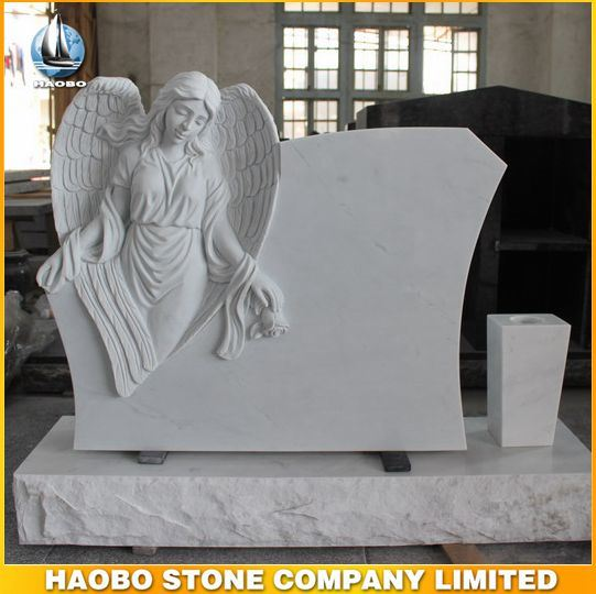High Quality White Marble Monument with Angel Sculpture Design