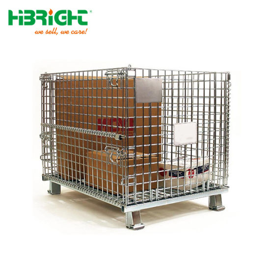 Supermarket Dismountable Rolling Metal Lockable Pallet Storage Cage With  Wheels