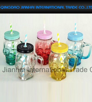 Popular Glass Beverage Bottle with Lid Straw pictures & photos
