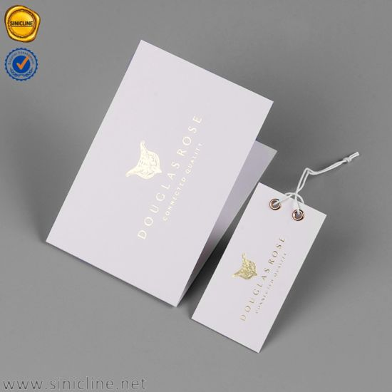 Sinicline Two Colors Printing Design Double Folding Hang Tag