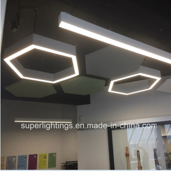 Custom made led linear hexagon light with direct indirect light